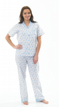 Ladies Short Sleeved Floral Seersucker Pyjamas Blue 10 - 20